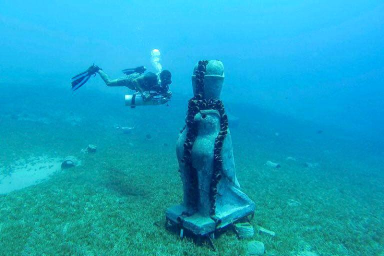 A diver is seen near the Statue of Horus. 	         (Ahmed Megahid)