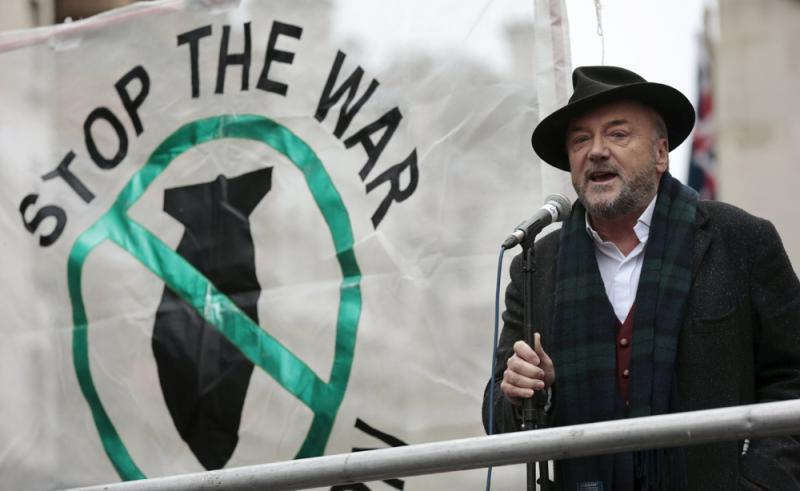 A file photo shows former British member of parliament George Galloway speaking at a rally in London. (Reuters)