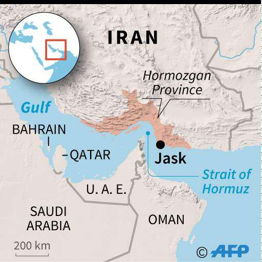 Costly project. A map of Iran locating Jask.(AFP)
