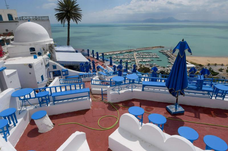 A cafe overlooking the sea in the village of Sidi Bou Said, usually a major attraction to tourists, ready to welcome visitors back. (AFP)