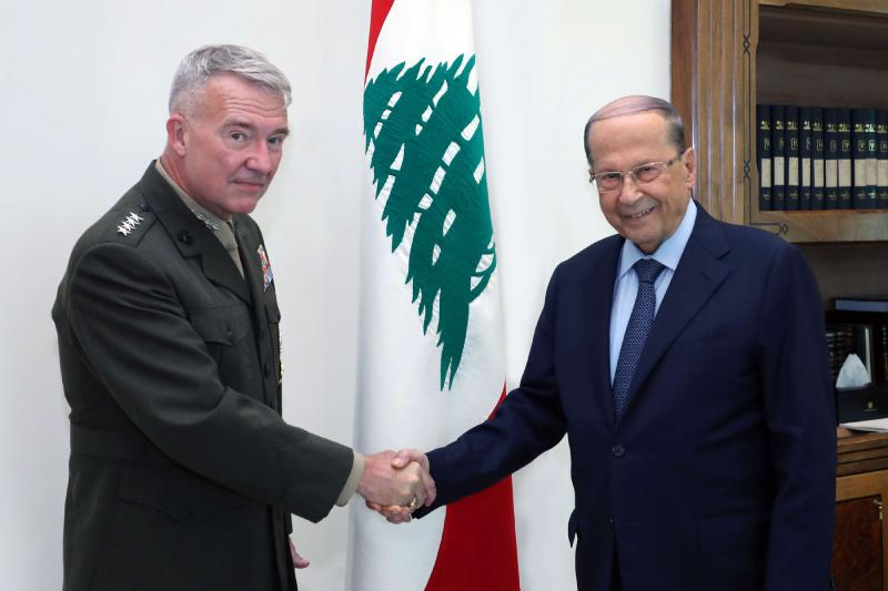 President Michel Aoun (R) meeting with the US Central Command (CENTCOM) chief General Kenneth F. McKenzie at the presidential palace in Baabda, July 8. (AP)