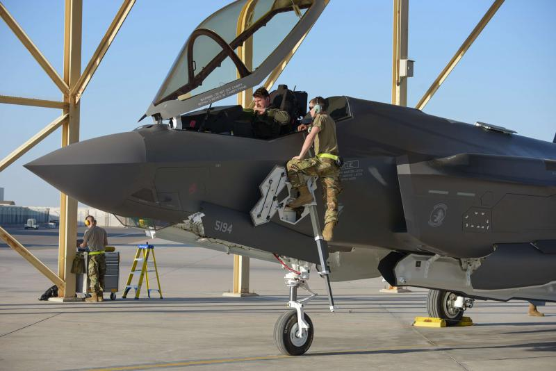 US soldiers stand next to an F-35A Lightning II stationed at the Emirati Al-Dhafra base, about 32 kilometres south of Abu Dhabi, last September. (AFP)