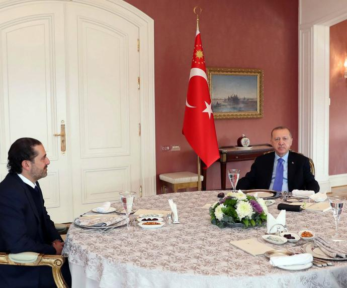 Turkish President Recep Tayyip Erdogan (R) meets with Lebanese Prime Minister-designate Saad Hariri (L) at Vahdettin Mansion in Istanbul, January 8, 2021.(AFP)