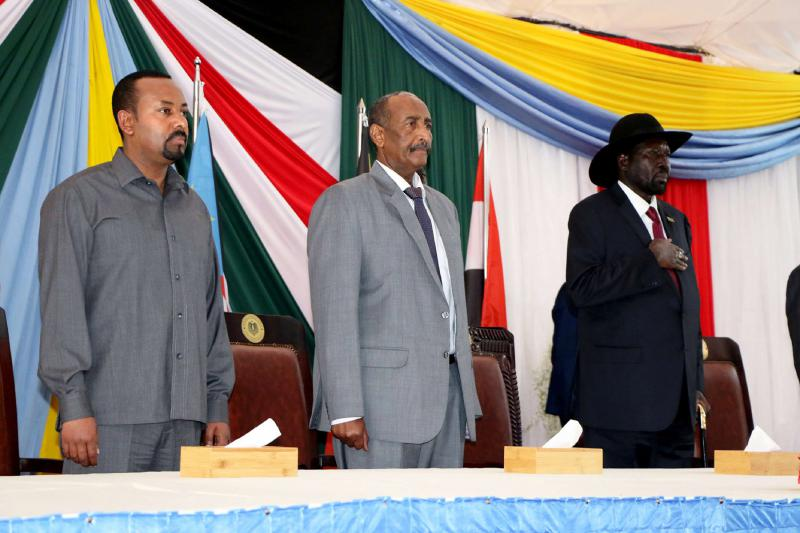 Ethiopian Prime Minister Abiy Ahmed, Leader of Sudan's transitional council, Lieutenant General Abdel Fattah Al-Abdelrahman Burhan and South Sudan's President Salva Kiir arrive for a meeting in Juba, South Sudan, October 14, 2019. (REUTERS)