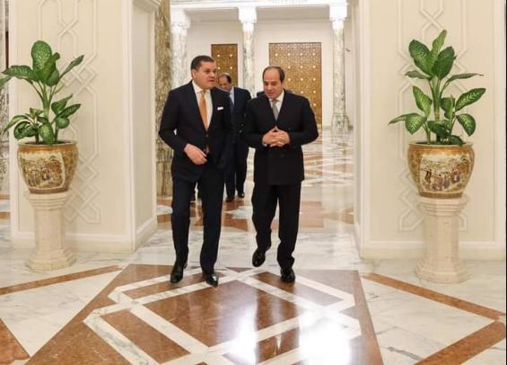 President Sisi meets with Prime Minister Dbeibah in Cairo. (FACEBOOK)