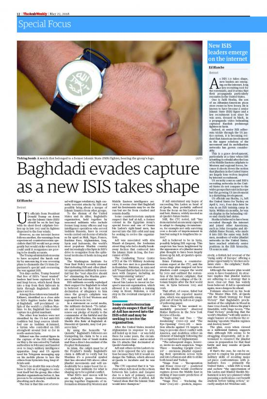 Baghdadi Evades Capture As A New Isis Takes Shape Ed Blanche Aw