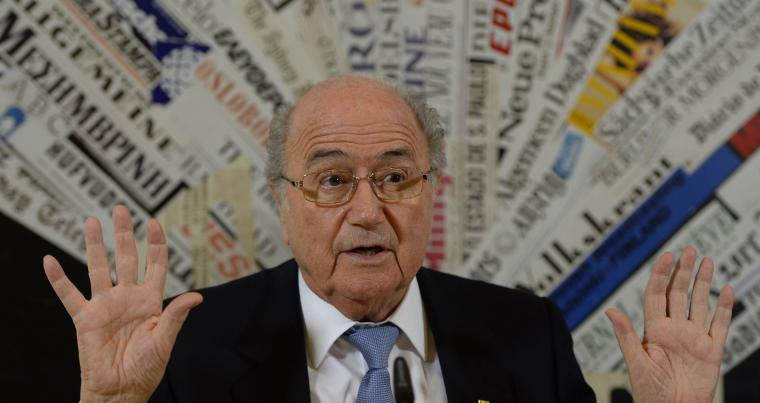 A skeleton in the closet. A 2013 file picture shows former FIFA President Sepp Blatter addressing working conditions on World Cup venues in Qatar during a news conference in Rome. (AFP)