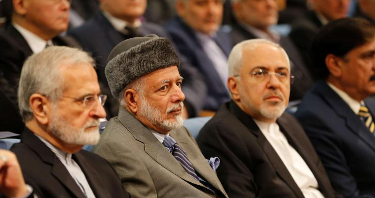 Former Iranian Foreign Minister Kamal Kharazi (L), Omani Foreign Minister Yusuf bin Alawi bin Abdullah (C) and Iranian Foreign Minister Mohammad Javad Zarif attend the Tehran Security Conference, on January 8.  (AFP)