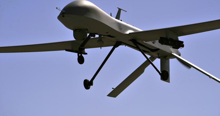 An MQ-1B Predator remotely piloted aircraft flies during a training mission in Nevada.                         (AFP)