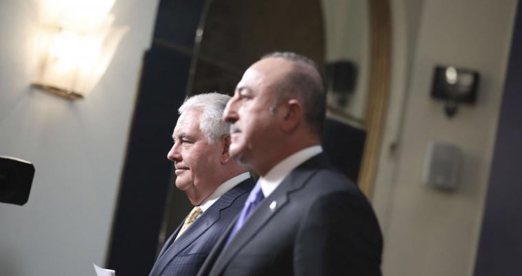 US Secretary of State Rex Tillerson (L) and Turkey's Foreign Minister Mevlut Cavusoglu walk to a joint news conference following their meeting in Ankara, on February 16.(AP)