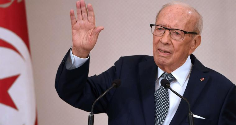 Tunisian President Beji Caid Essebsi gives a speech during a ceremony marking the 62nd anniversary of Tunisian independence at the Carthage Palace, on March 20. (AFP)