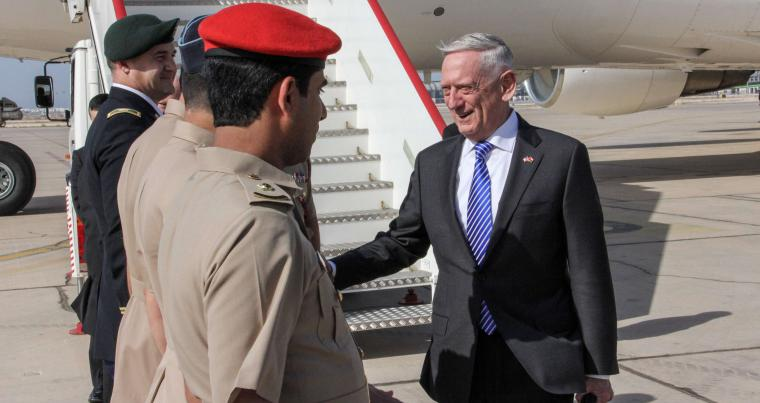 US Defence Secretary James Mattis (R) shakes hands with Omani officials upon his  arrival in Muscat, on March 11. (AFP)