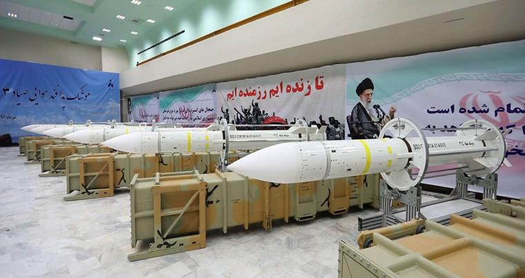 Sayyad-3 air defence missiles on display at an undisclosed location in Iran, last July.  (Iranian Defence Ministry)