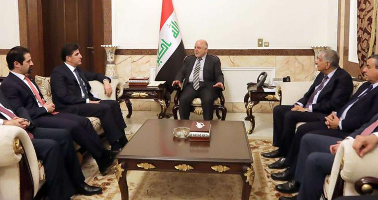 Iraqi Prime Minister Haider al-Abadi (C) meets with Kurdistan Regional Government Prime Minister Nechirvan Barzani (2nd L) in Baghdad, on January 20. (Iraqi Prime Minister's Office)