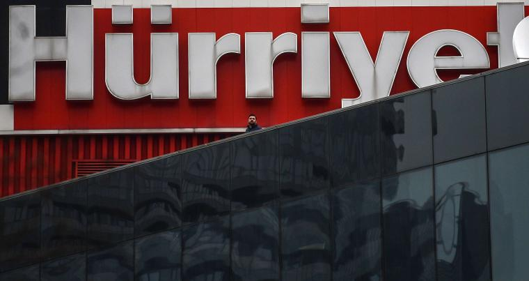 Logo of Turkey's Hurriyet newspaper at the Dogan media group complex in Istanbul on March 22. (AFP)