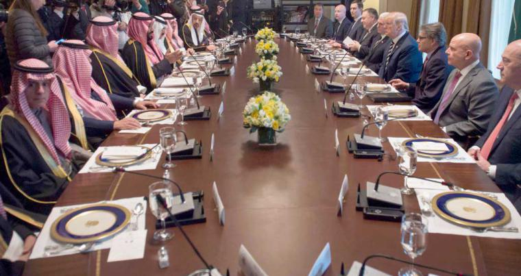 US President Donald Trump (C-R) holds a lunch meeting with Saudi Crown Prince Mohammed bin Salman bin Abdulaziz (C-L) and members of his delegation, on March 20.(AFP)