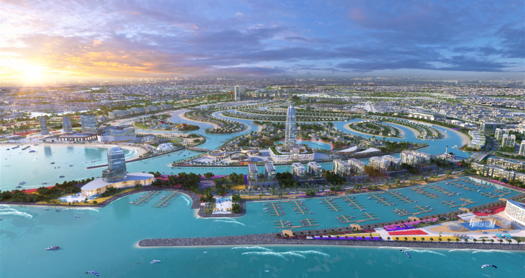 An illustration shows a general view of the $6.8 billion Sharjah Waterfront City project. (Sharjah Oasis Real Estate Company)