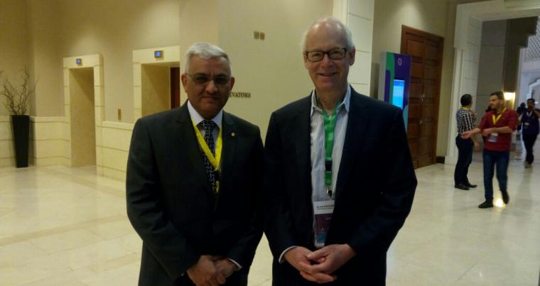 Yousef al-Rawas from Talal Abu-Ghazaleh Academy (L) and education expert Alan November at the Teacher Skills Forum. 	   (Roufan Nahhas)