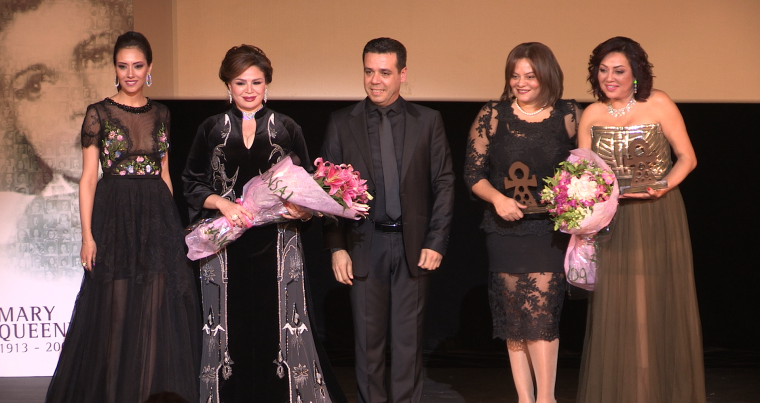 "Egyptian actress Elham Chahine  (2nd-L), festival founder Sam Lahoud (C) and members of ""A Day for Women"" original cast and crew.(Sam Lahoud)"