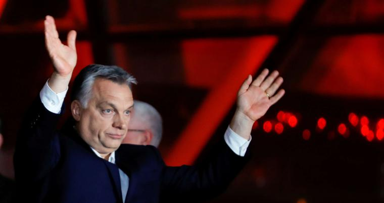 Hungarian Prime Minister Viktor Orban after the announcement of the partial results of parliamentary election in Budapest, on April 8. (Reuters)