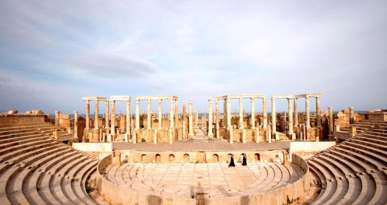 Endangered site. A view of Leptis Magna, a UNESCO World Heritage site on the Mediterranean coast of North Africa, some 120km east of Tripoli.