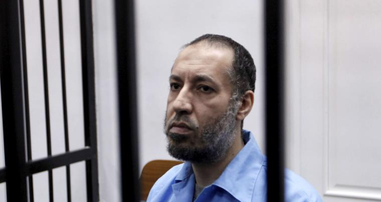 Off the hook. A 2015 file picture shows Saadi Qaddafi sitting behind bars during a hearing at a courtroom in Tripoli. (Reuters)