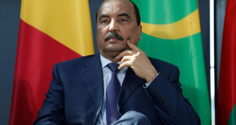 Mauritanian President Mohamed Ould Abdel Aziz attends the opening of an exhibition at the Arab World Institute in Paris, last April. (AFP)