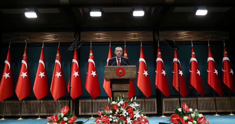 Turkish President Tayyip Erdogan addresses a news conference at the Presidential Palace in Ankara, on April 18. (Reuters)