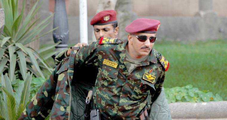 A file photo of Major-General Tariq Saleh, a nephew of former Yemeni leader Ali  Abdullah Saleh, at the Republican Palace in Sana'a. (Reuters)