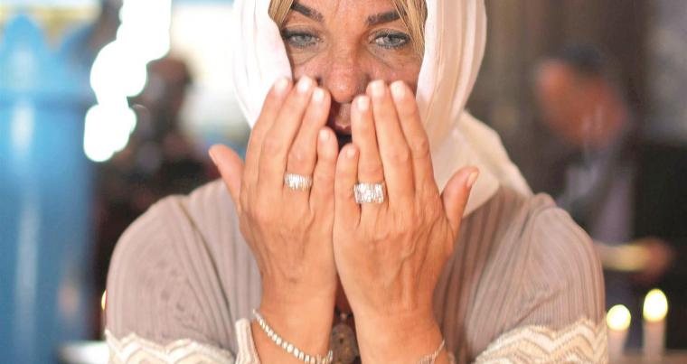 A Jewish woman prays at the Ghriba Synagogue in Djerba, on May 2.  (Reuters)
