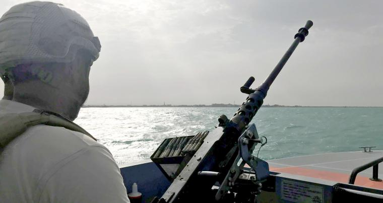 UAE navy soldier on patrol at a port in Yemen. (Reuters)