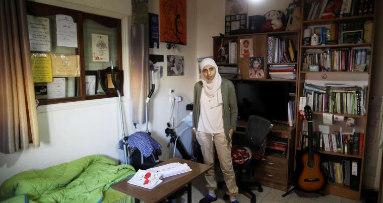Arab-Israeli poet Dareen Tatour at her house in Reineh, last September. (Reuters)