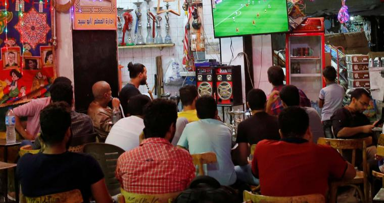 Egyptian fans watch the World Cup 2018 match between Egypt and Uruguay at a cafe in Cairo. (Reuters)
