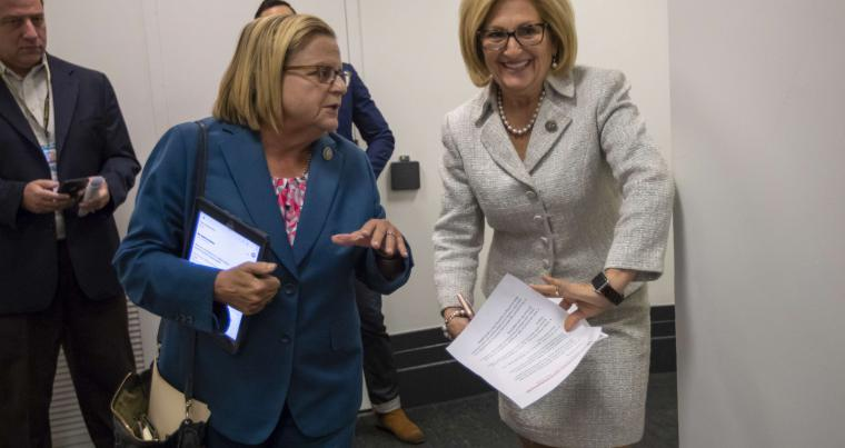 US Representatives Ileana Ros-Lehtinen (L) and Diane Black head into a closed-door meeting on Capitol Hill in Washington, on June 7. (AP)