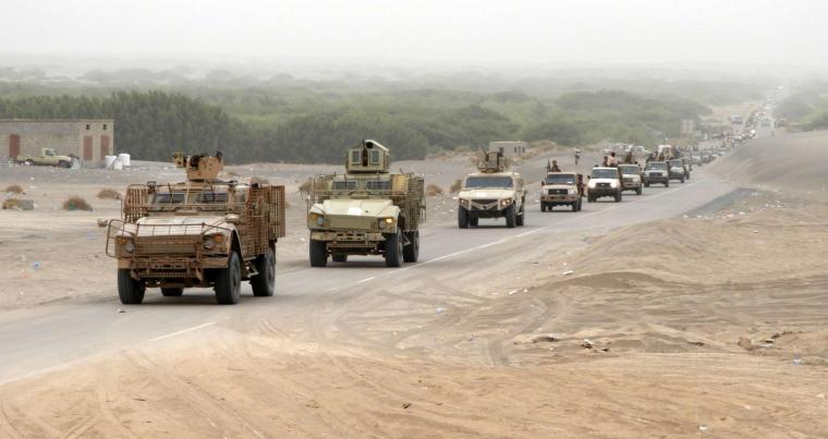 Closing in.A column of Yemeni pro-government forces and armoured vehicles arrives in al-Durayhimi district, about 9km south of Hodeidah International Airport, on June 13. (AFP)