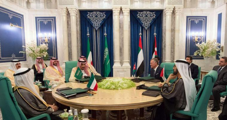From L to R at the round table: Emir of Kuwait, Sheikh Sabah Al Ahmad Al Sabah; Saudi King Salman; Jordan's King Abdullah II; and Sheikh Sheikh Mohammed bin Rashid Al Maktoum, Prime Minister of the UAE; meet in Mecca. (Saudi Press Agency)