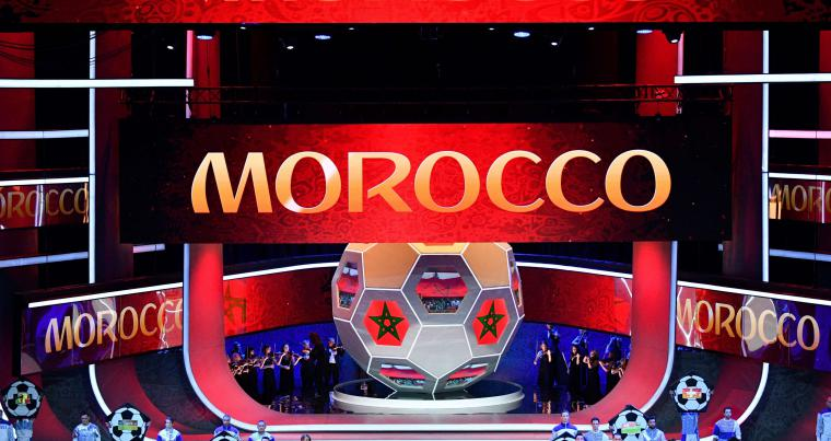 "Artists perform on stage as ""Morocco"" is displayed on screens during the Final Draw for the 2018 FIFA World Cup football tournament, in Moscow last December. (AFP)"
