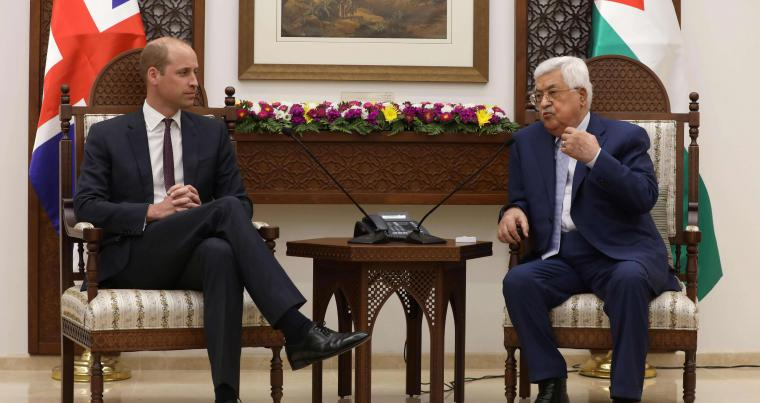 Britain's Prince William meets with the Palestinian President Mahmoud Abbas in the West Bank city of Ramallah on June 27. (AFP)