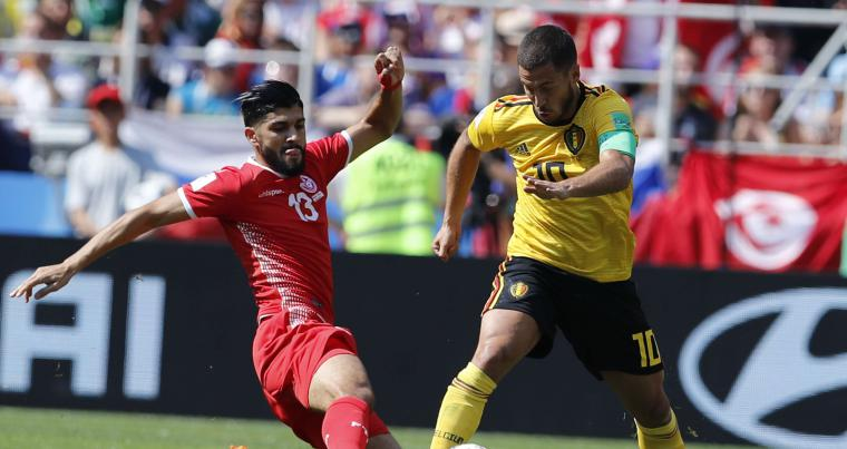 Belgium's Eden Hazard, right, and Tunisia's Ferjani Sassi challenge for the ball during the group G match between Belgium and Tunisia. (AP)