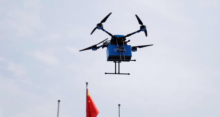 A Chinese commercial drone is seen during a news conference in Shanghai, last May. (Reuters)