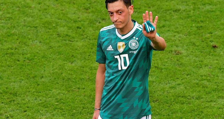 Germany's midfielder Mesut Ozil reacts at the end of the Russia 2018 World Cup Group F football match between South Korea and Germany, on June 27. (AFP)
