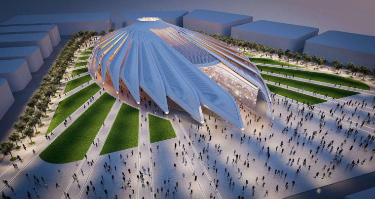 A computer-generated image shows architect Santiago Calatrava's design for the UAE Pavilion for Dubai World Expo 2020. (WAM)