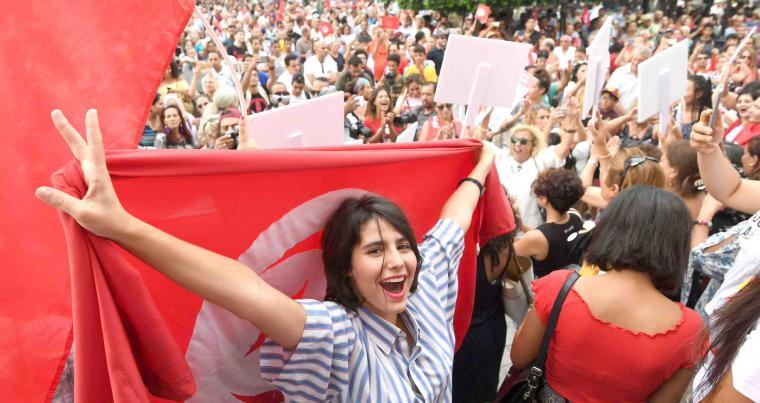 High hopes. Tunisians chant slogans during a demonstration to demand equal inheritance rights between men and women, on August 13. (AFP)