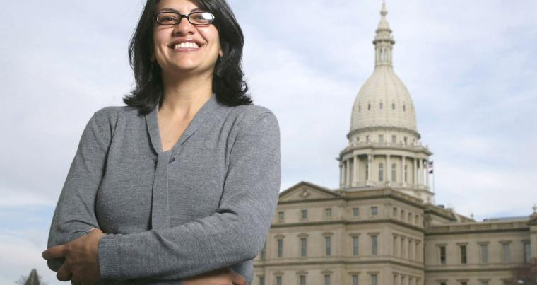 A win for democracy. A file picture of Rashida Tlaib outside the Michigan Capitol in Lansing.                                			                            (AP)