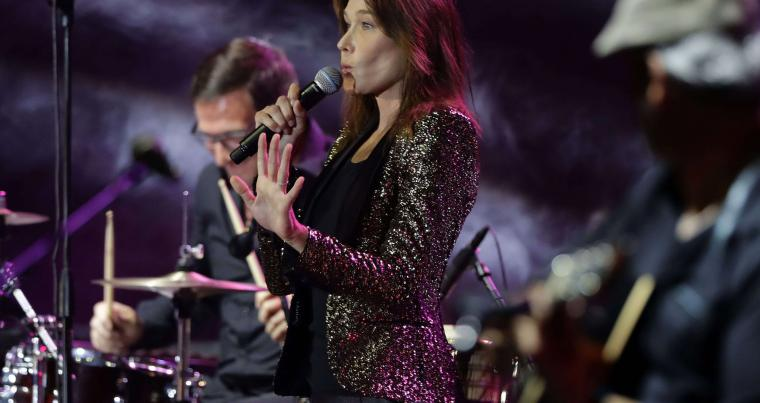 French-Italian singer Carla Bruni Sarkozy performs during the Beiteddine International Art Festival, on July 30. (AFP)