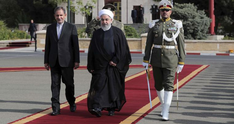 Iranian President Hassan Rouhani at Mehrabad Airport in Tehran, on September 23. (Iranian Presidency Office via AP)