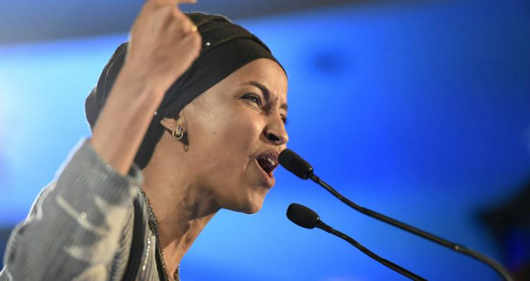Democrat Ilhan Omar speaks after winning in Minnesota's 5th US Congressional District race during the election night event held by the Democratic Party, on November. (AP)