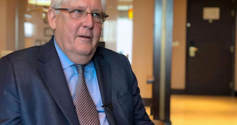 UN Special Envoy to Yemen Martin Griffiths speaks during an interview in Abu Dhabi. (Reuters)