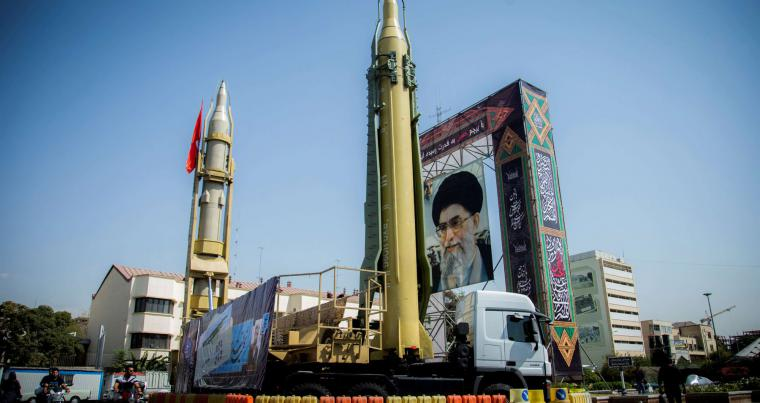 A display featuring missiles and a portrait of Iran's Supreme Leader Ayatollah Ali Khamenei is seen at Baharestan Square in Tehran, Iran September 27, 2017. (Reuters)