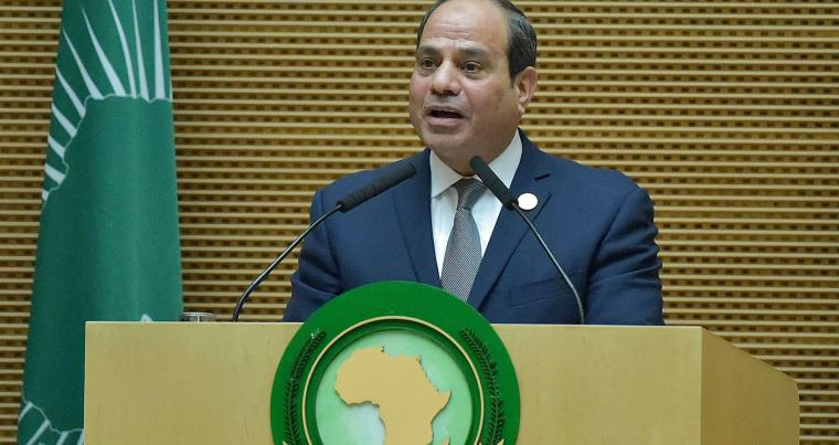 Egyptian President and new African Union chairperson Abdel Fattah al-Sisi speaks during the 32nd African Union (AU) summit in Addis Ababa on February 10, 2019. (AFP)